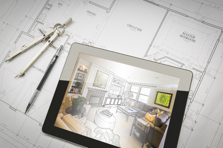 Computer Tablet Showing Living Room Illustration Sitting On House Plans With Pencil and Compass. Фото со стока