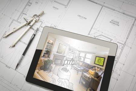 Computer-Tablette Zeigen Wohnzimmer Illustration sitzen auf Pläne mit Bleistift und Kompass.