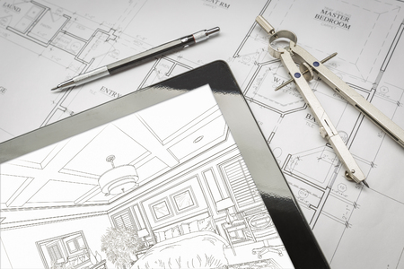 Computer Tablet Showing Room Illustration Sitting On House Plans With Pencil and Compass. Banco de Imagens