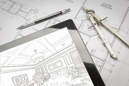 Computer Tablet Tonen Illustratie Zittend Op Huis Plannen met potlood en Compass. Stockfoto