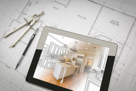 Computer Tablet Showing Kitchen Illustration Sitting On House Plans With Pencil and Compass. Zdjęcie Seryjne - 56110481