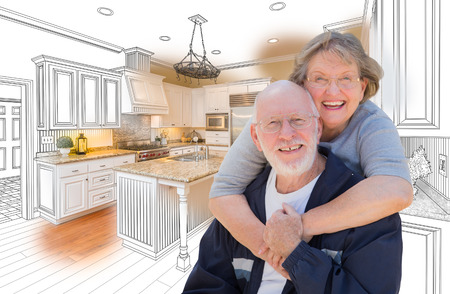 Happy Senior Couple Over Custom Kitchen Design Drawing and Photo Combination.