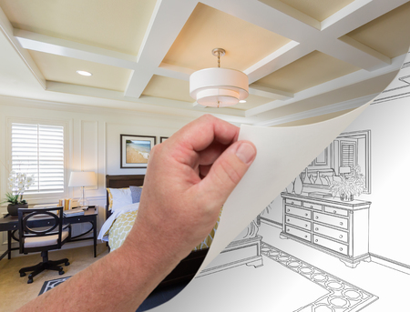 Male Hand Turning Page of Custom Bedroom Photograph to Drawing Underneath.