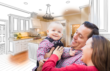custom: Happy Young Family Over Custom Kitchen Design Drawing and Photo Combination.