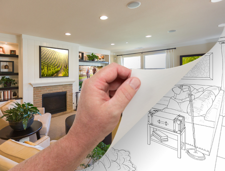 underneath: Male Hand Turning Page of Custom Living Room Photograph to Drawing Underneath.