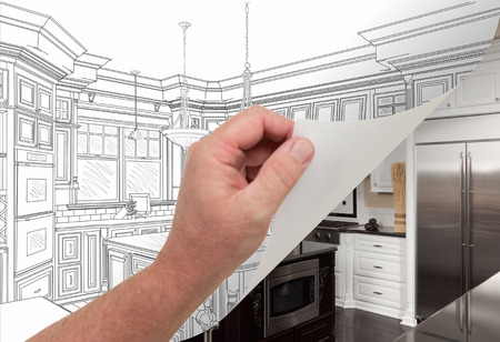 flipping: Male Hand Turning Page of Custom Kitchen Drawing to Finished Photograph Underneath.