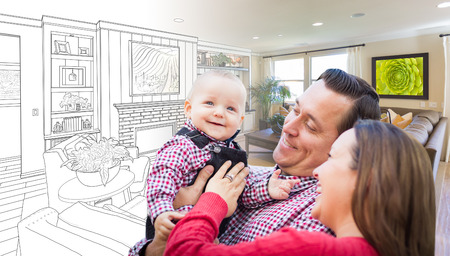 drawing room: Happy Young Family Over Custom Living Room Design Drawing Photo Combination. Stock Photo