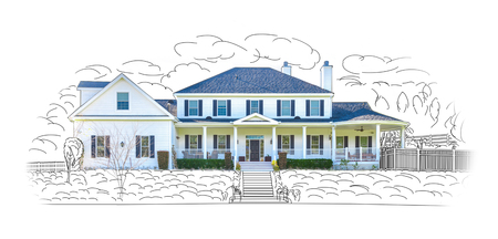 housing project: Custom House Drawing and Photo Combination Isolated on a White Background.