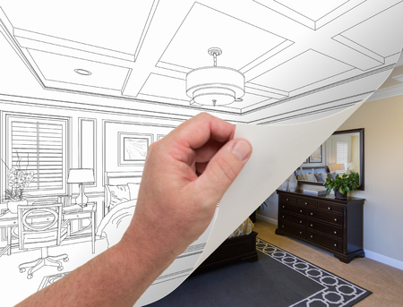 turning page: Male Hand Turning Page of Custom Bedroom Drawing to Finished Photograph Underneath.