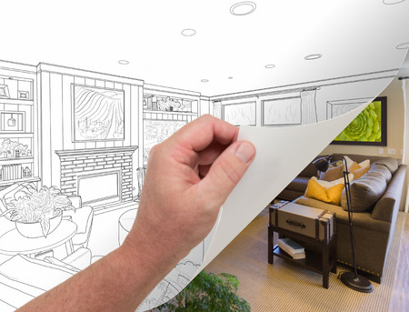 flipping: Male Hand Turning Page of Custom Living Room Photograph to Drawing Underneath.