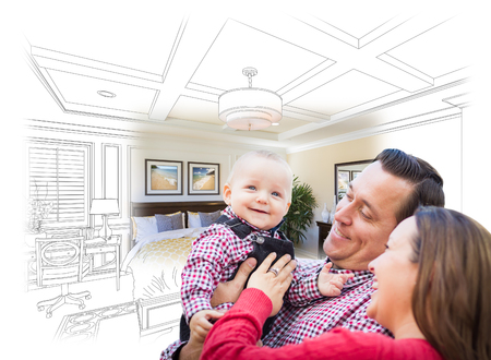 young family: Happy Young Family With Baby Over Custom Bedroom Drawing and Photo Combination.