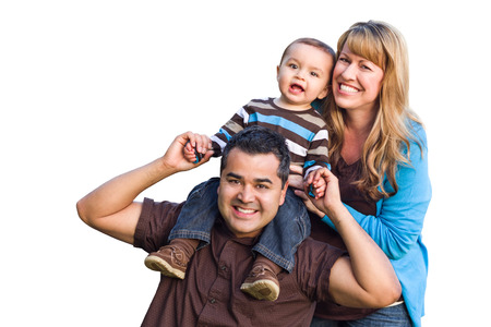 Happy Mixed Race Ethnic Family Isolated on a White Background.