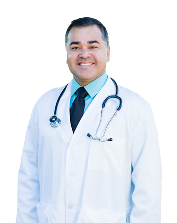 assured: Attractive Hispanic Male Doctor or Nurse Isolated on a White Background. Stock Photo