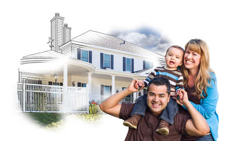 front or back yard: Happy Mixed Race Family Over House Drawing and Photo Combination on White. Stock Photo