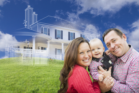 Happy Family with Ghosted House Drawing and Rolling Green Hills Behind.