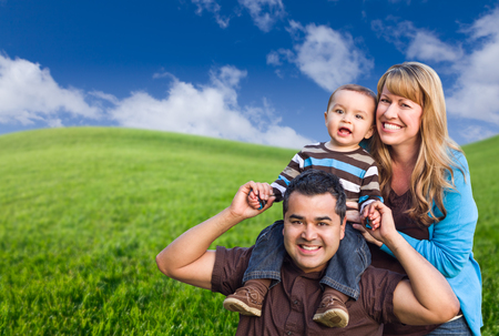 mixed race: Happy Mixed Race Family In Green Grass Field