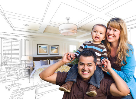 mixed race: Mixed Race Family With Baby Over Custom Bedroom Drawing and Photo Combination.