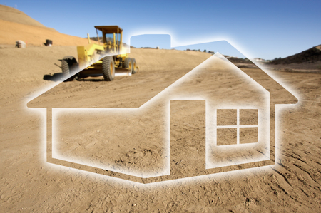 backhoe loader: Ghosted House Outline Above Dirt Construction Site and Tractor.