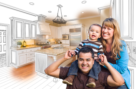 mixed race children: Happy Young Mixed Race Family Over Kitchen Drawing with Photo Combination.