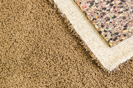 Pulled Back Carpet and Padding In Room of House. Stock Photo