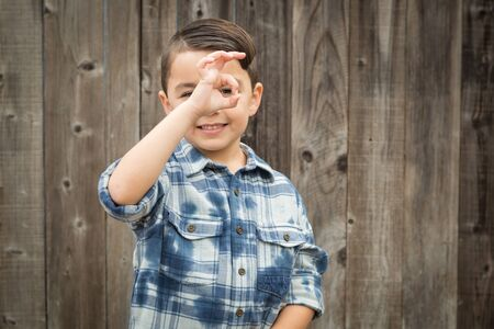 Happy Young Mixed Race Boy Making Okay Hand Gesture.