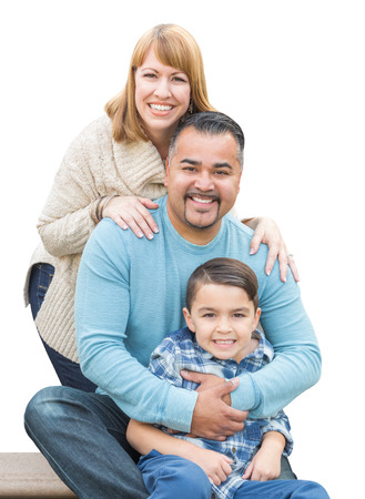 family isolated: Happy Mixed Race Hispanic and Caucasian Family Isolated on a White Background.