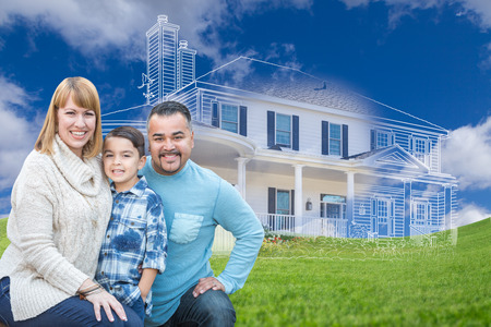 biracial: Young Happy Mixed Race Family and Ghosted House Drawing on Grass. Stock Photo