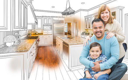 residences: Happy Young Mixed Race Family Over Kitchen Drawing with Photo Combination.