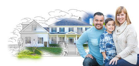 Young Happy Mixed Race Family and Ghosted House Drawing on White. Stock Photo