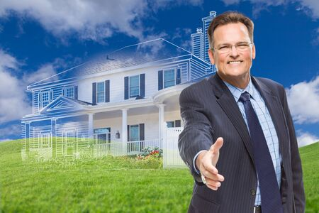 house for sale: Smiling Male Agent Reaching for Hand Shake in Front of Ghosted New House.