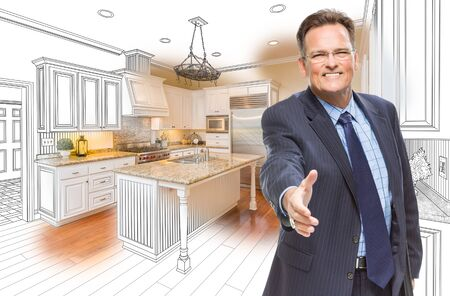 caucasians: Smiling Male Agent Reaching for Hand Shake in Front of Kitchen Drawing and Photo Combination.