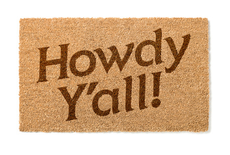 welcome mat: Howdy Yall Welcome Mat Isolated On A White Background.