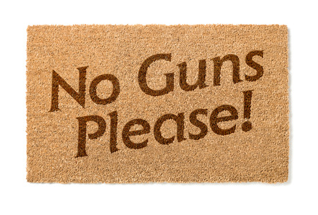 welcome mat: No Guns Please Welcome Mat Isolated On A White Background.