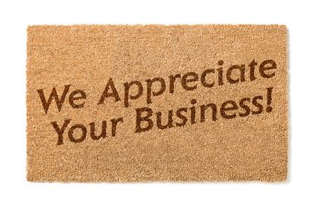 welcome mat: We Appreciate Your Business Welcome Mat Isolated On A White Background.
