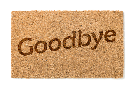 welcome mat: Goodbye Welcome Mat Isolated On A White Background.