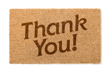 welcome mat: Thank You Welcome Mat Isolated On A White Background. Stock Photo