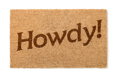 welcome mat: Howdy Welcome Mat Isolated On A White Background.