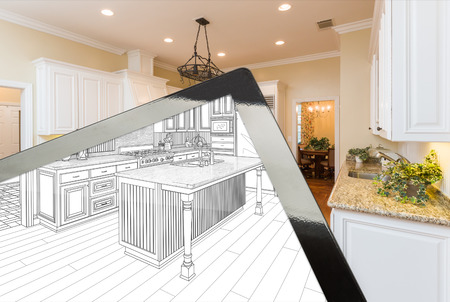 Computer Tablet Screen Showing The Drawing of The Kitchen Photograph Behind.