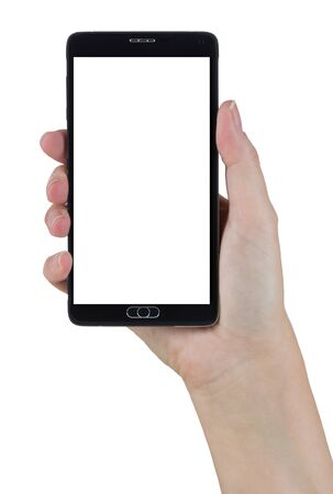 Female Hand Holding A Smart Phone with Blank Screen Isolated on a White Background. Banco de Imagens