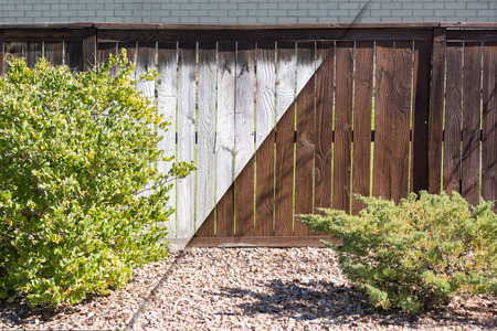 finishing touches: Yard Fence Before and After Solid Paint Stain Application.