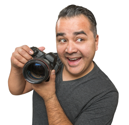 funny guys: Goofy Hispanic Young Male With DSLR Camera Isolated on a White Background. Stock Photo