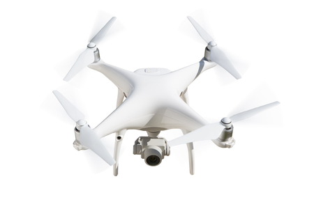 Unmanned Aircraft System (UAV) Quadcopter Drone Isolated on White.