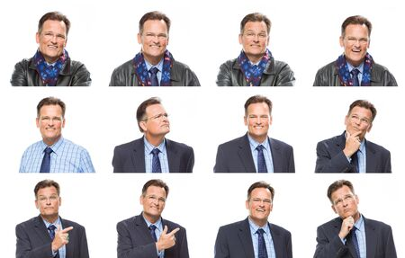 Set of Handsome Mixed Race MIddle Aged Businessman with a Variety of Expressions Isolated On White. photo