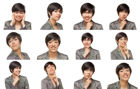 Set of Attractive Mixed Race Young Adult Female with a Variety of Expressions. photo