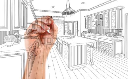 注文の台所設計の建築図面詳細の手。 写真素材