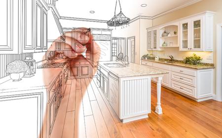 明らかに写真のグラデーション手図面カスタム キッチン デザイン。
