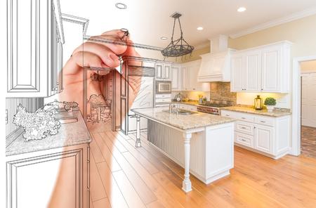 Handzeichnung Custom Kitchen Design Mit Gradation Revealing Fotografie. Standard-Bild - 77327795