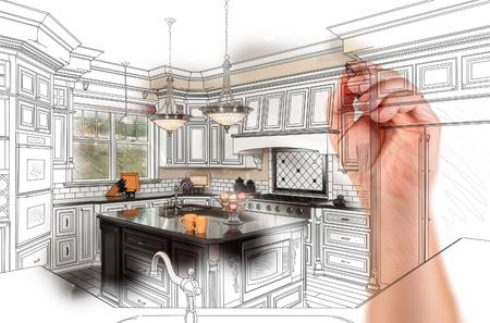Handzeichnung Custom Kitchen Design Mit Gradation Revealing Fotografie. Standard-Bild - 77327796