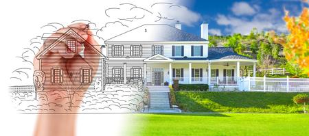 reno: Hand Drawing Custom House Design With Gradation Revealing Photograph.