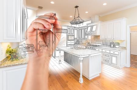 Hand Drawing Custom Kitchen Design With Gradation Revealing Photograph. 免版税图像